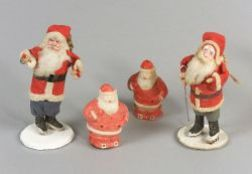 Two Father Christmas Figures and Two Light Covers