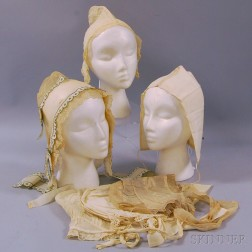 Six Embroidered Cotton and Lace Bonnets and Caps