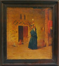 American/Continental School, 19th Century      Middle Eastern Woman with a Distaff.