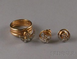 Teufel Motion 14kt Gold and Diamond Ring and Earrings