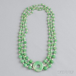 Jade, Seed Pearl, and Diamond Necklace