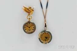 Two Enamel and 18kt Gold Ladies' Watches