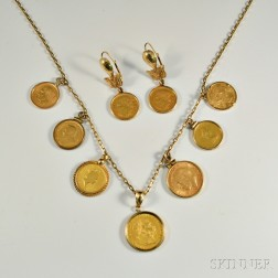 Coin-mounted 14kt Gold Necklace and Earrings