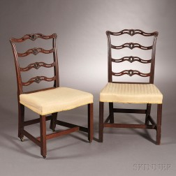 Pair of Mahogany Carved Slat-back Chairs