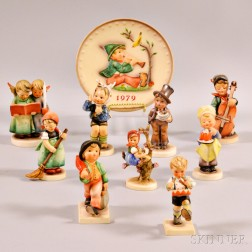 Nine Hummel Figures and a 1979 Plate