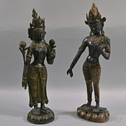 Two Metal Alloy Standing Deities