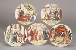 Five Shorthose Dutch Decorated Creamware Plates