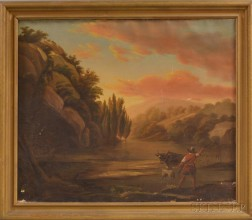 American School, 19th Century       Mountain Landscape with Man and Oxen