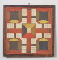 Painted Parcheesi/Checkers Double-sided Wooden Game Board