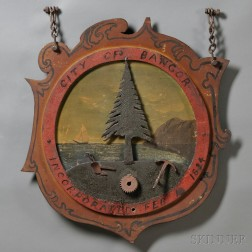 "Polychrome Painted Cast Iron ""CITY OF BANGOR"" Plaque"