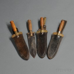 Four Springfield Armory Model 1880 Hunting Knives