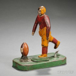 Painted Cast Iron and Tin Articulated Football Player