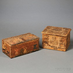 Two Decoupage-decorated Wooden Boxes