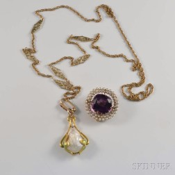 Art Nouveau 14kt Gold and Pearl Necklace and 14kt Gold and Amethyst Brooch