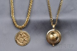 Two 18kt and 14kt Gold Pendant Necklaces