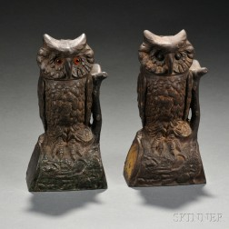 """Two Painted Cast Iron Mechanical """"Owl"""" Banks"""