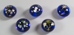Five Paul Stankard Floral Botanical Glass Paperweights