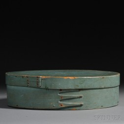 Large Blue-painted Lapped-seam Covered Storage Box