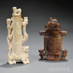 Two Stone Covered Vases