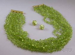 Peridot Multi-strand Necklace and Earclips