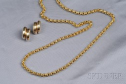 18kt and 14kt Gold Necklace and Earclips