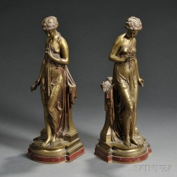 After Paul DuBois (French, 1829-1905)       Two Bronze Figures of Classical Maidens