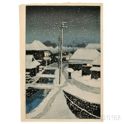Kawase Hasui (1883-1957), Evening Snow at Terashima