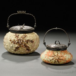 Two Mount Washington Glass Jars with Aquatic Decoration