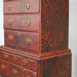 Queen Anne Paint-decorated Maple High Chest