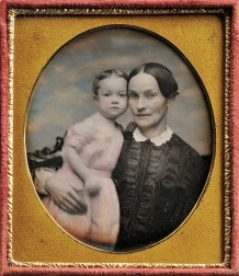 American School, 19th Century      Hand-tinted Sixth-plate Daguerreotype of a Mother and Child
