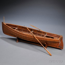 Hand-crafted Wooden Rowboat Model