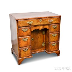 George III Walnut Veneer Kneehole Desk