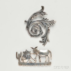 Two Maricela Silver Brooches