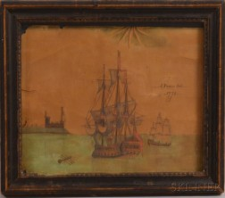 Framed Jeremias Peele (Canadian, 1702-1796) Pen, Ink, and Watercolor Maritime Scene