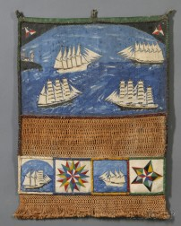 Sailor's Paint-decorated Canvas and Macrame Wall Pocket