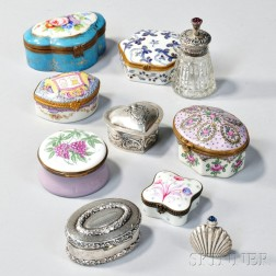 Group of Silver and Porcelain Patch Boxes