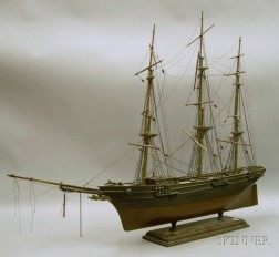 Carved and Painted Wood Three-masted Sailing Ship Model