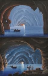 American/Italian School,  19th Century      Two Works Depicting the Grotta Azzurra (Blue Grotto).