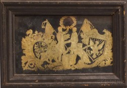 Framed Gold Foil Picture Celebrating the Treaty of Ghent