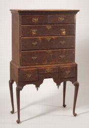 Queen Anne Tiger Maple Spanish Brown-painted High Chest of Drawers