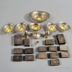 Group of Sterling Silver Match Safes, Nut Cups, and Salts