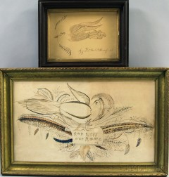 Two Framed Calligraphic Exercises