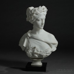 Fille Pugi (Italian, fl. Late 19th/Early 20th Century)       Marble Bust of a Young Beauty