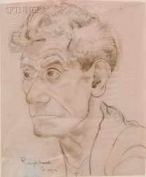 Attributed to Raphael Soyer (American, 1899-1987)      Portrait of a Man