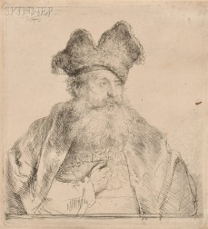 Rembrandt van Rijn (Dutch, 1606-1669)      Old Man with Divided Fur Cap