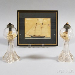 Pair of Sandwich Colorless Lamps and a Framed Watercolor of the Schooner   Gerdes
