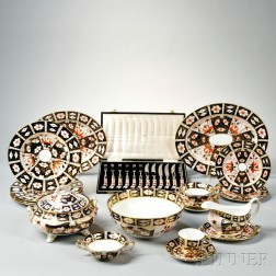 Forty-four Pieces of Royal Crown Derby Imari Pattern Porcelain