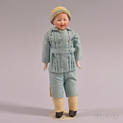 Small G. Heubach Bisque Shoulder Head Laughing Boy Doll