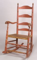 Salmon Red-painted Slat-back Armed Rocking Chair