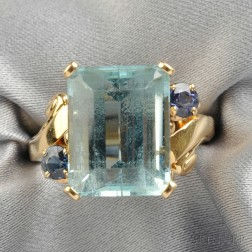 14kt Gold, Aquamarine, and Sapphire Ring, Tiffany & Co.